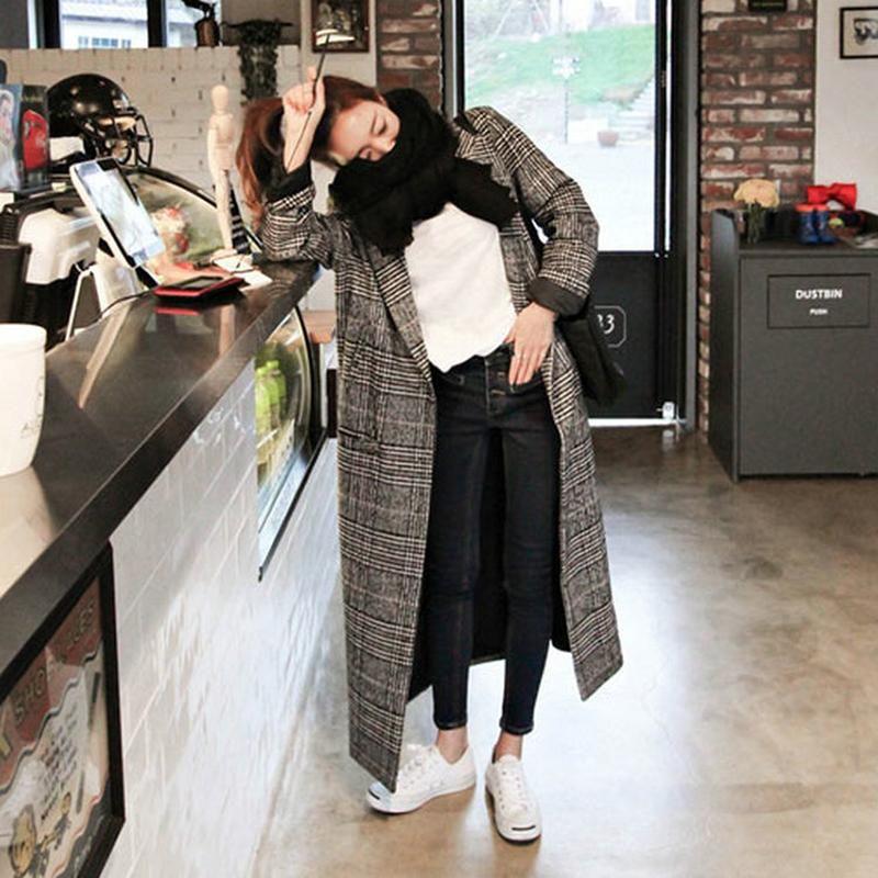 Длинное Шерстяное Пальто Женщины 2019 Повседневная Мода Свободные Зимние Теплые Клетчатые Пальто Старинные Элегантные Карманные Смеси Тренч Женская Верхняя Одежда Куртка