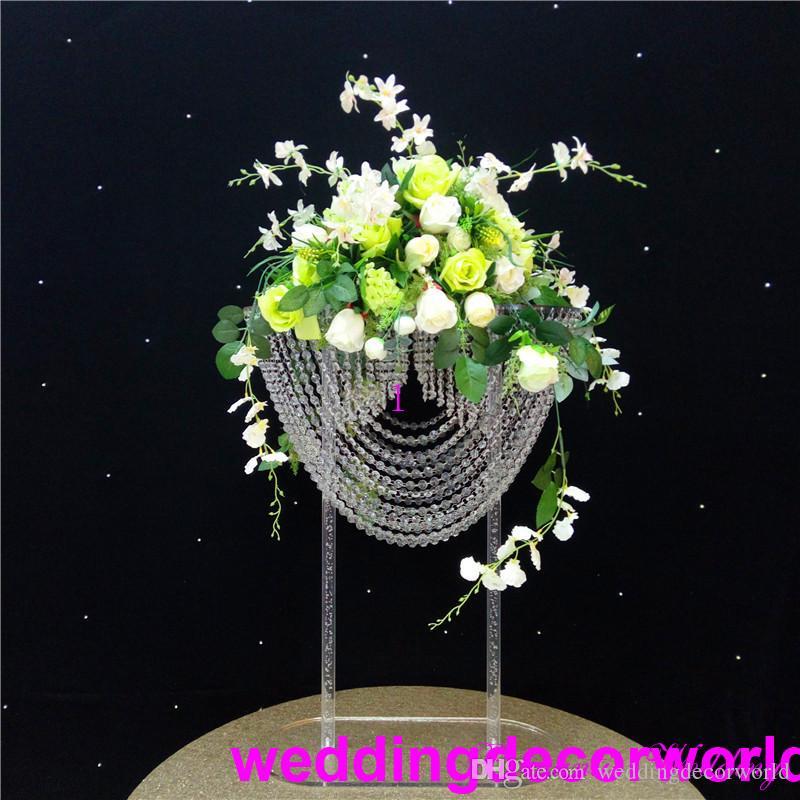 Nuovo arco in acrilico di cristallo di stile di archi floreali del fiore di stile per la decorazione di nozze all'aperto 0758 di nozze