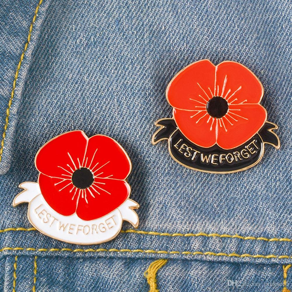 2020 Red Poppy Pin Remembrance Sunday Brooch Veterans Day Lapel