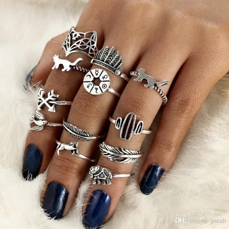 12pcs/Set Bohemia Antique Silver Arrow Elephant Fox Lion Pony Pattern Carved Animal Rings Sets for Women Jewelry DIY Fittings Cluster Rings