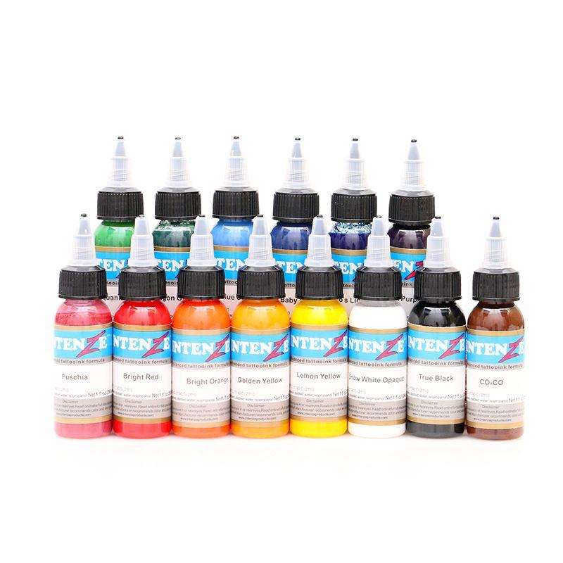 Hohe Qualität Tätowierung Tintensatz Tätowierer Pigment 14 Farbe Set 1 oz / 30ml / flasche Tattoo Paint Kit für 3D Makeup Schönheit Haut Körperkunst