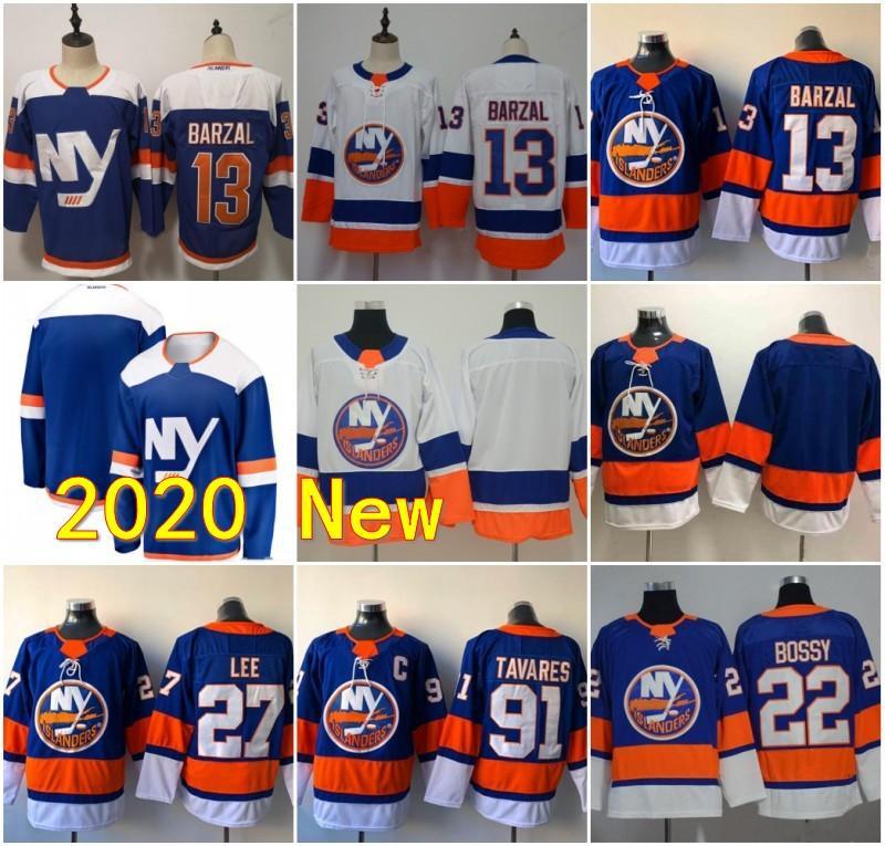 13 Mathew Barzal New York Jerseys Islanders Ice Hockey 27 Anders Lee 22 Mike Bossy Denis Potvin Steve Thomas Pat Lafontaine Blu bianco