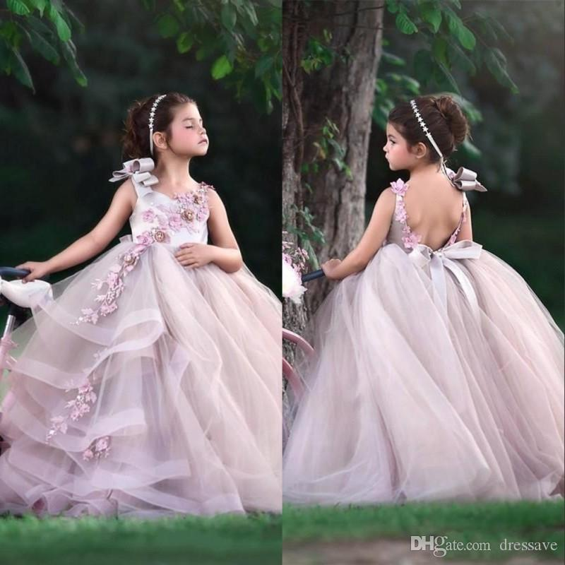 2020 Little Baby Flower Girls Dresses Jewel Neck Open Back A Line Tulle Long Kids Formal Wear With Lace Appliques Birthday Gowns
