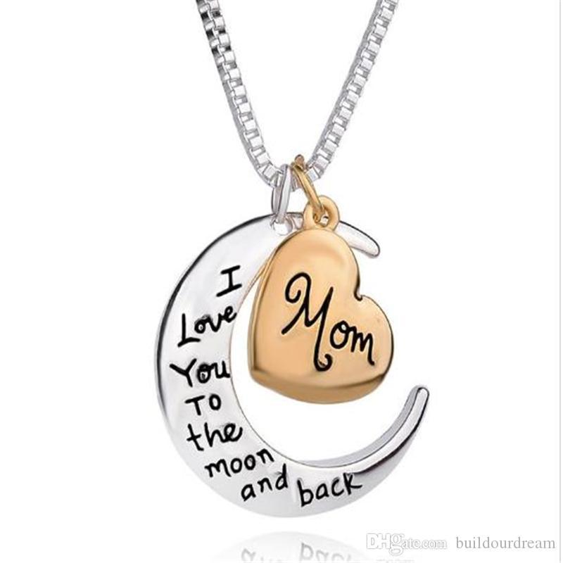 Hot fashion love Collana con ciondolo a cuore per regalo per la festa della mamma Ti amo per la luna e la collana di gioielli per la mamma posteriore 0723ayq