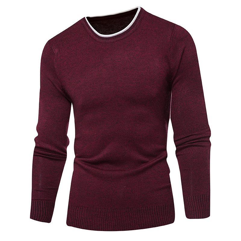 Autumn Winter men's knitted O-Neck sweater wool Warm Casual Pure color pullover sweater winter slim men underwear