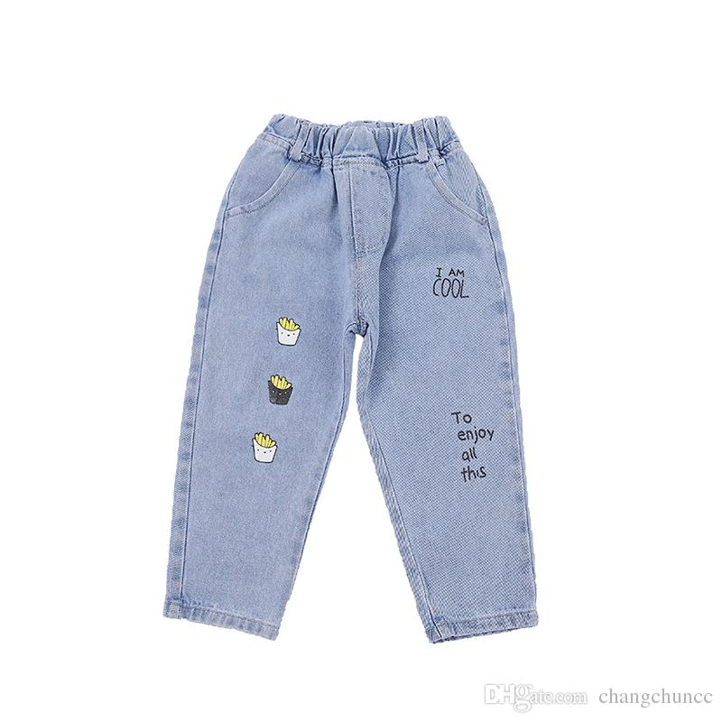 New Style Kids Girl Jeans Elastic Waist Straight Trousers Baby Fashion Denim Pant Casual Spring Autumn Hot Trend