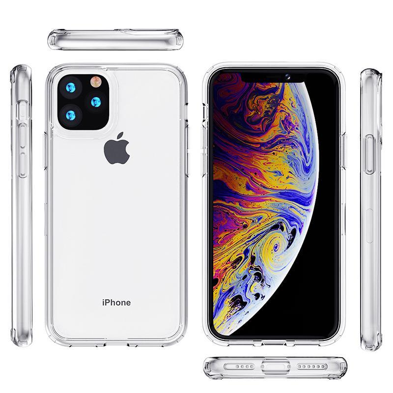 Transparente Clear TPU Acrílico Caso Duro para iPhone 12 Mini 11 Pro Max XR XS 7 8 Plus Samsung S20 S10 Note20 Note10