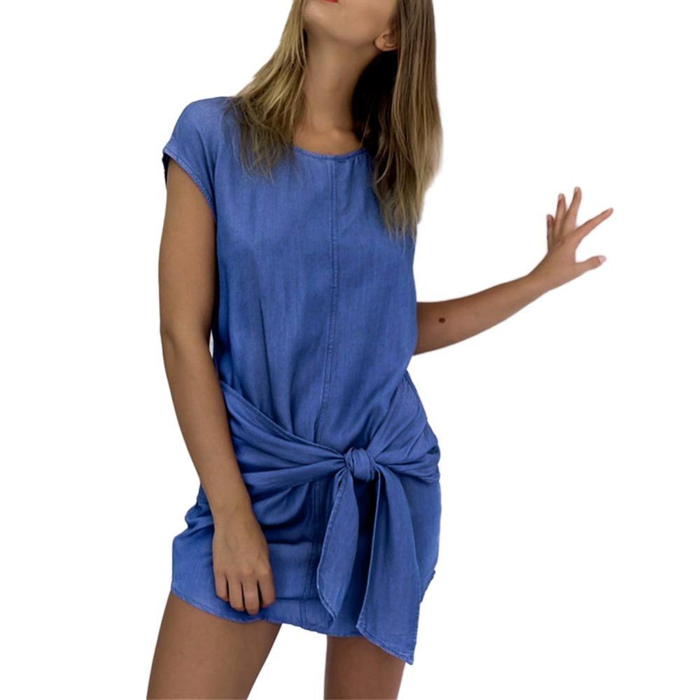 Summer Fashion Womens Short Sleeve Jeans Long T shirt Casual Denim Mini Dress