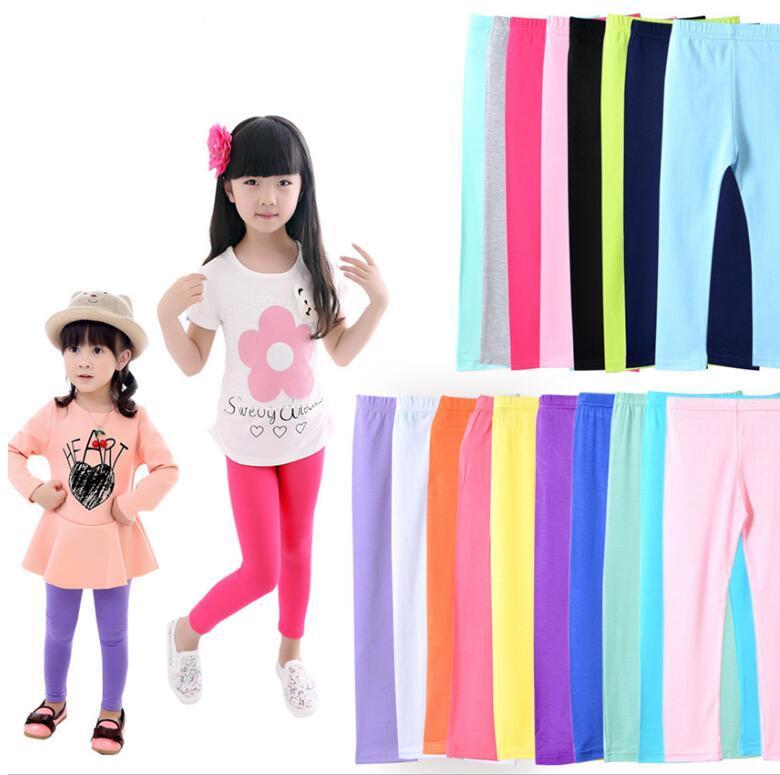 Girls leggings Autumn Candy color Leggings children solid tights baby kids leggings girl trousers 2-13 Y