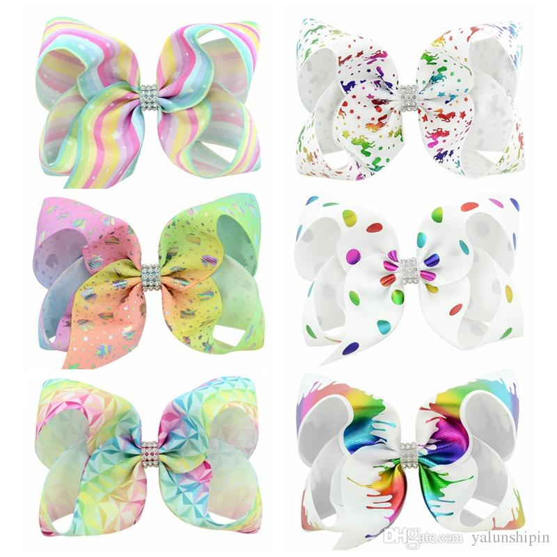 6 pçs / lote 6 Polegada Grandes Crianças Baby Girl Fita De Gorgorão Flash de perfuração Arco Clipes Arco-íris New Design Crianças Acessórios Para o Cabelo 840