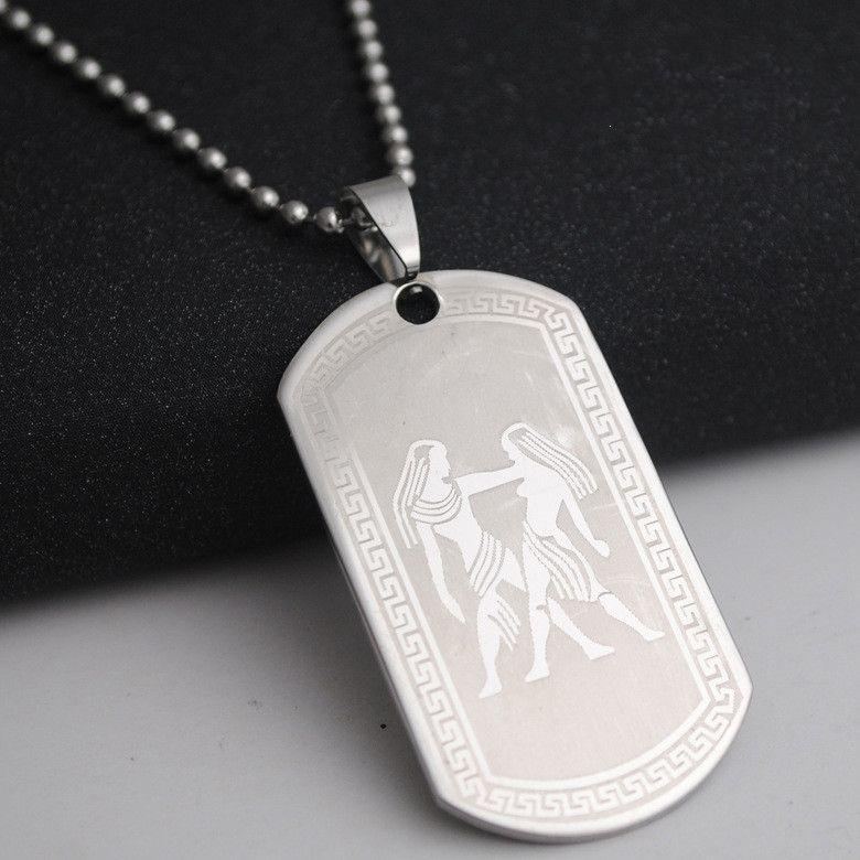 1 Gêmeos Aço Inoxidável 12 Doze Constellation Sign Colar Zodíaco Símbolo Amuleto Coreano Sorte Mãe Homens Mulheres Família Presentes Jóias