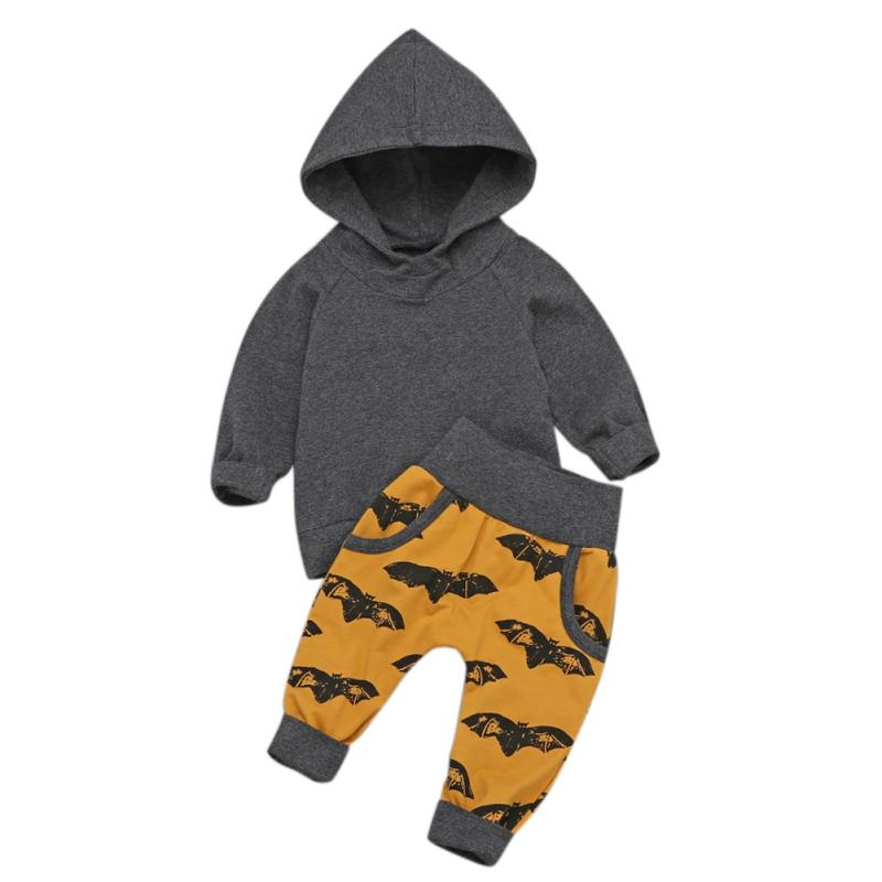 HIgh Quality Hot Baby Set 2 Piece Set Boys Girls Clothes Bat Print Long Sleeve T-Shirt Pants Spring And Autumn New Arrival