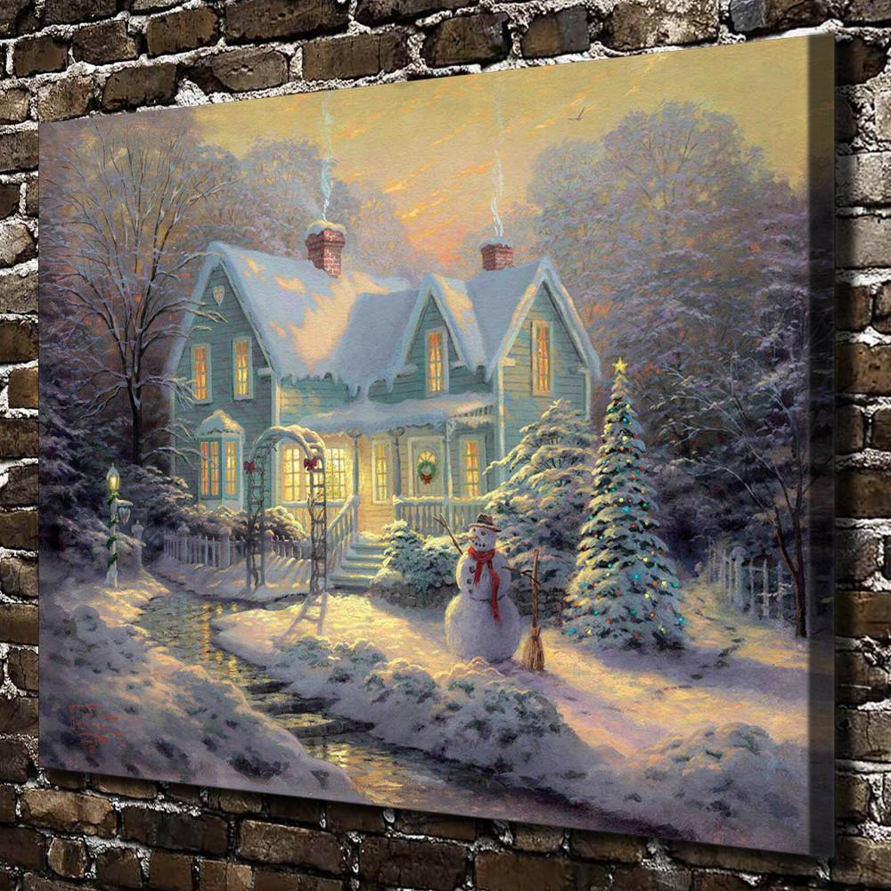 Bendiciones de Navidad, decoración para el hogar, pintura de arte moderno impresa en lienzo (sin marco / enmarcada)