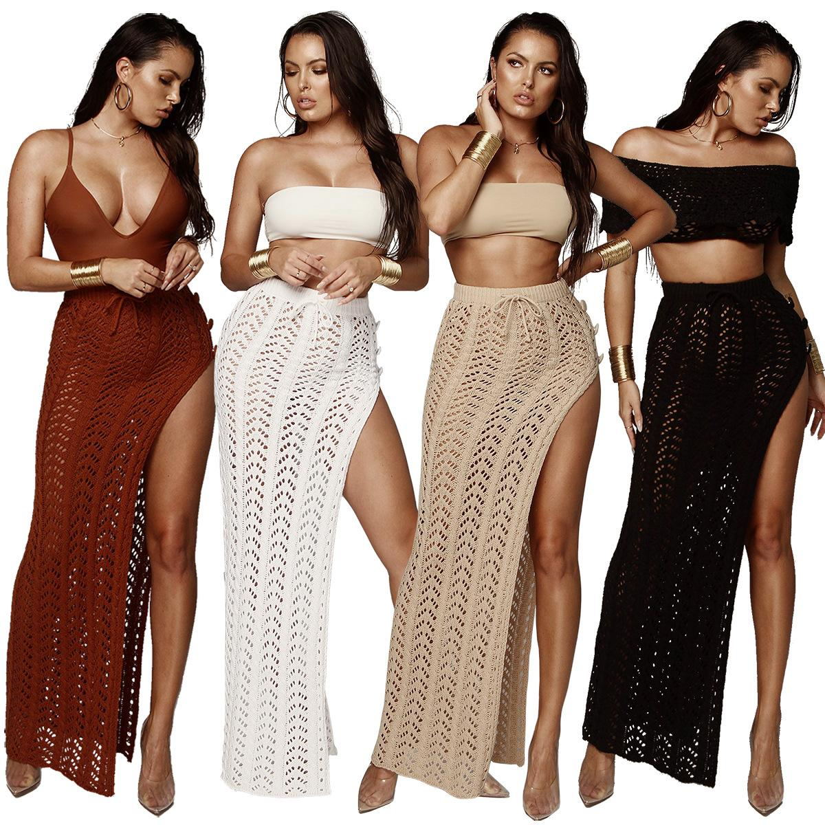Mujeres Sexy Suéter Faldas Maxi Sólido Lace Up Plaid Hollow Cintura alta Side Split Falda Beach Bikini Cover Up Blanco Negro Rojo Light Tan Color