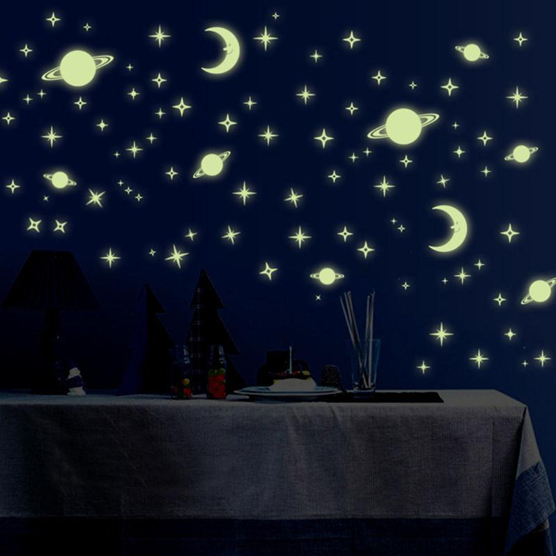 1 Pack Fluorescent Wall Sticker Stars Moon Home Decor Luminous Space Planets Wall Stickers Boys' Children Room DIY Decals