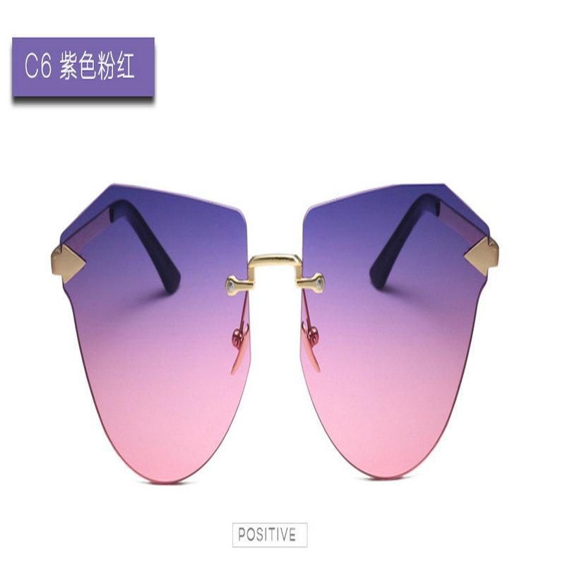 Flecha de oro gafas de sol sin marco OFIR 2019 marco de los vidrios Mujer Ronda retro personalidad cara miopía ojos rostro delgado espejo Triángulo Flecha EBPy