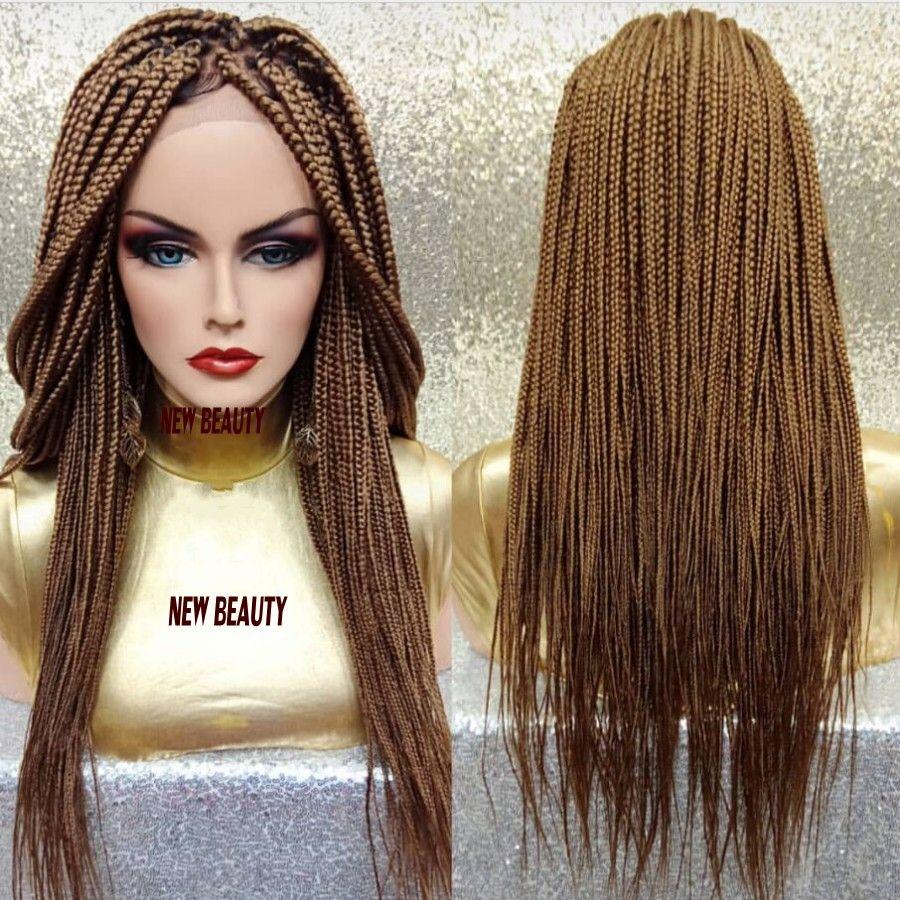 Alta qualidade # 27 rendas trança loira perucas cabelo brasileiro BOLETO perucas trançado caixa rendas frente peruca 30inch tranças perucas sintéticas para as mulheres negras