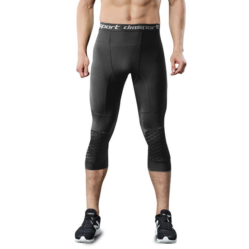 Basketball masculin rembourré Trois quarts Collants Pantalons avec genouillères pour hommes 3/4 Capri Compression Collants Leggings Formation de la girle