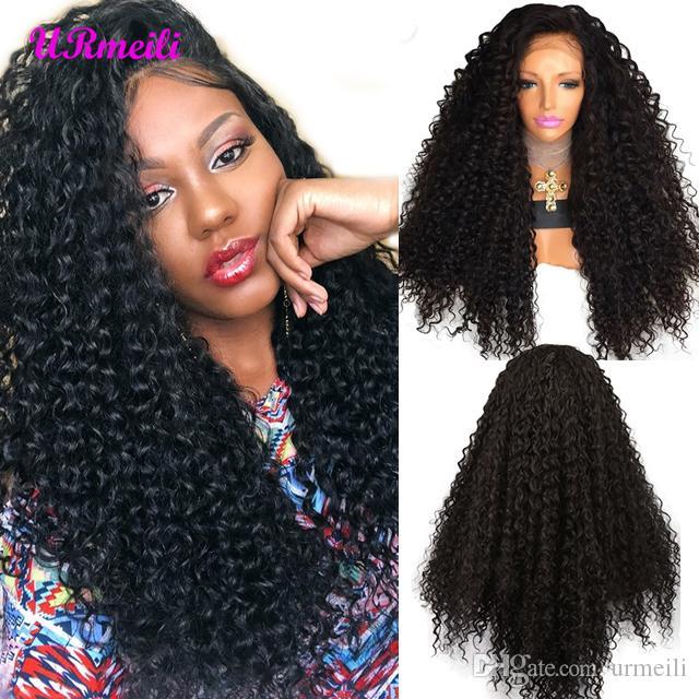 Parrucche anteriori anteriori in pizzo sintetico lungo Afro Kinky parrucche ricci per le donne resistenti al calore nero con i capelli del bambino 180% parrucche anteriori in pizzo di densità