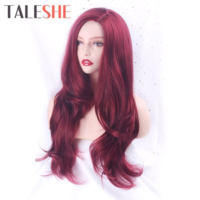 TALESHE rossi lunghi ondulati parrucca parrucche sintetiche lato naturale Parte calore capelli fibra resistente per Black Cosplay Rosa Donne