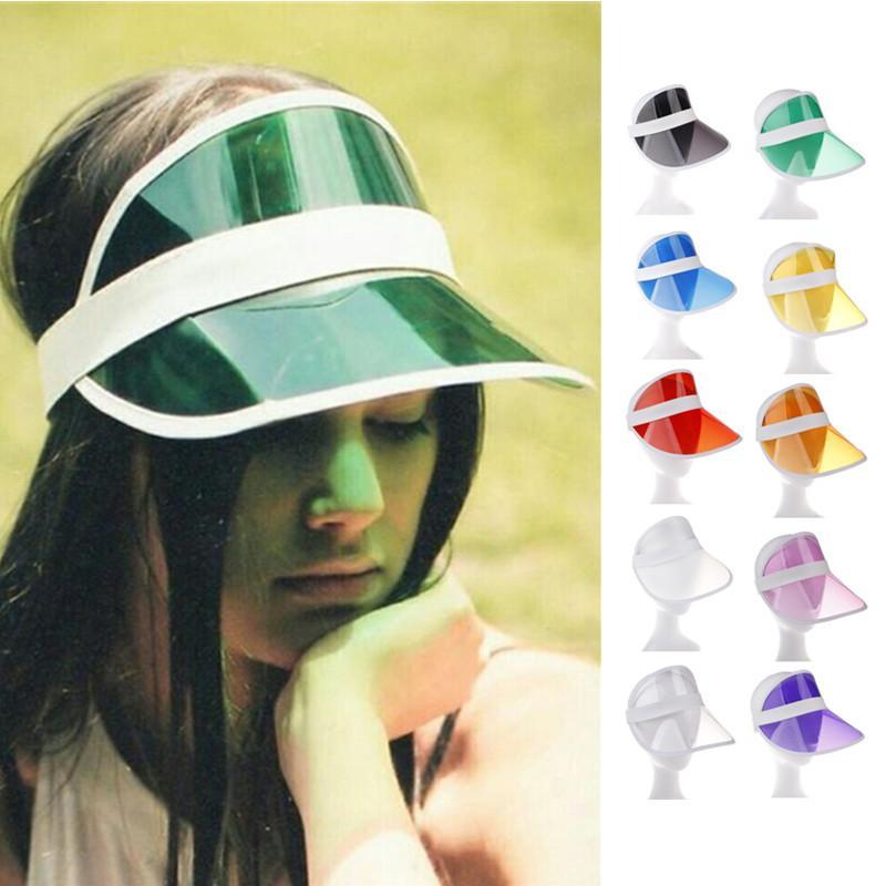high Quality Summer Visors Women & Men Wide Brim Cap PVC Plastic Transparent Sun Hat Adjustable Sunhat Outdoor Sunscreen Hats 10 Colors