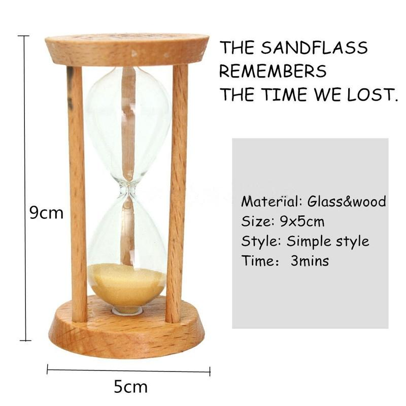 3 Minuti Clessidra della sabbia di vetro Clessidra Timer conto alla rovescia Timing telaio di legno della decorazione della casa Desk ornamento Altri accessori Orologi