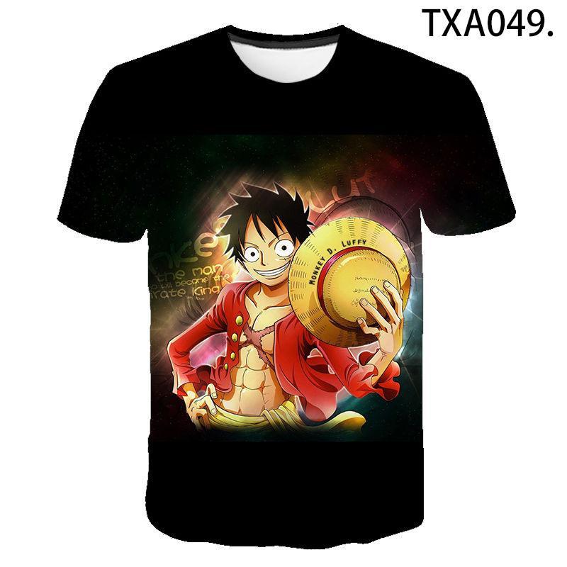 Camiseta de una pieza Hombres Mujeres Niños Impreso 3D camiseta de la historieta del animado fresco ocasional Verano Tops T Luffy muchacha del muchacho de los niños Streetwear