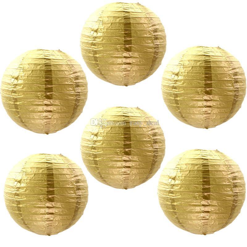 Oro Plata Linternas de Papel Ronda Plegable Artesanía Papel Pantalla Pantalla Boda Decorar Decoración de Escenario Apoyos Al Por Mayor ZC0295