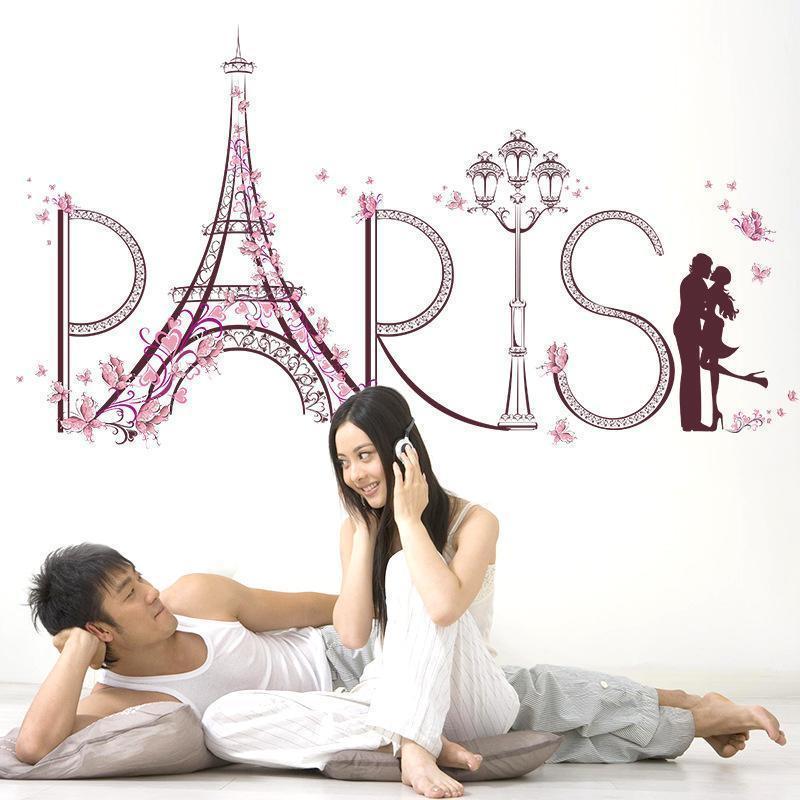새로운 3D 파리 에펠 탑 (Eiffel Tower) 큰 벽 스티커 홈 장식 거실 로맨틱 연인 벽 데칼 나비 꽃 스티커 벽화