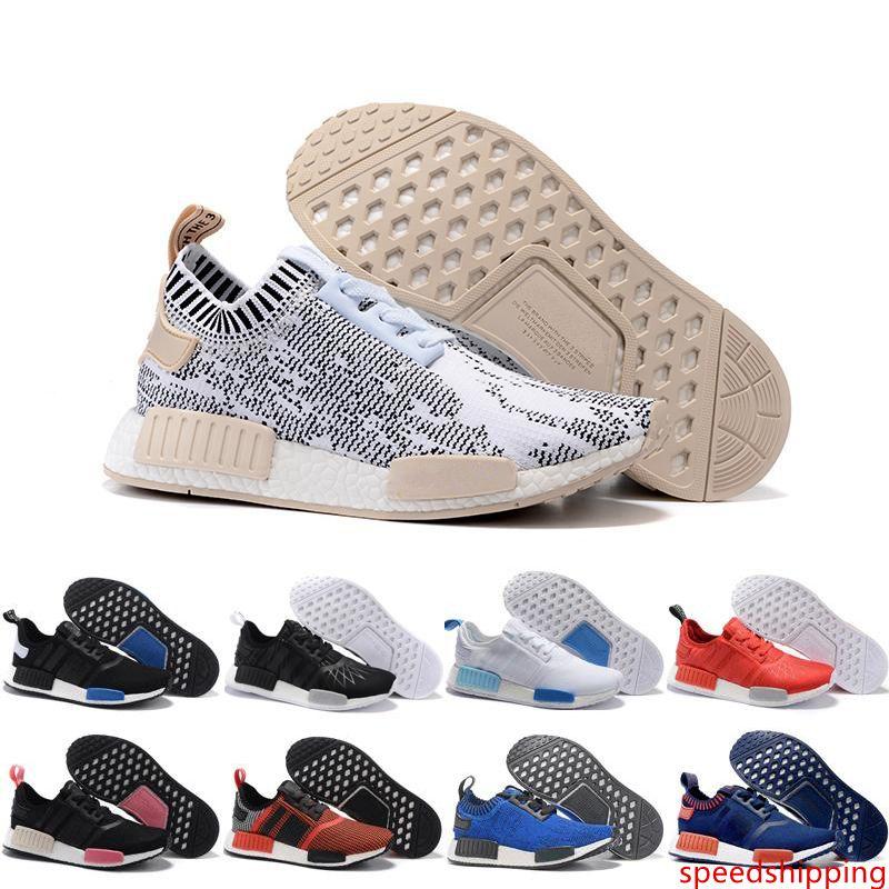 2019 Venta al por mayor Runner R1 Primeknit Nice Kicks Circa Knit Negro Hombres Mujeres Zapatillas Zapatillas de deporte Classic Super Star Zapatos casuales
