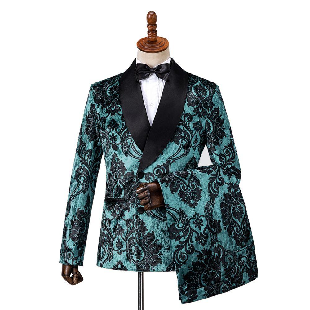 Gwenhwyfar Black Flower Printed Samt Männer Anzug Slim Fit Hochzeit Pfau-Grün-Anzüge für Männer Prom Bräutigam Smoking-Jacke mit Hose