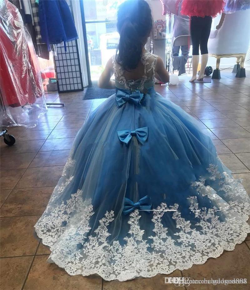 블루 깎아 지른 칼라 Organza 소녀의 미인 대회 드레스 Ruffles Tulle 페르시 크리스탈 앵클 길이 긴 파티 파티 드레스 웨딩 파티 드레스
