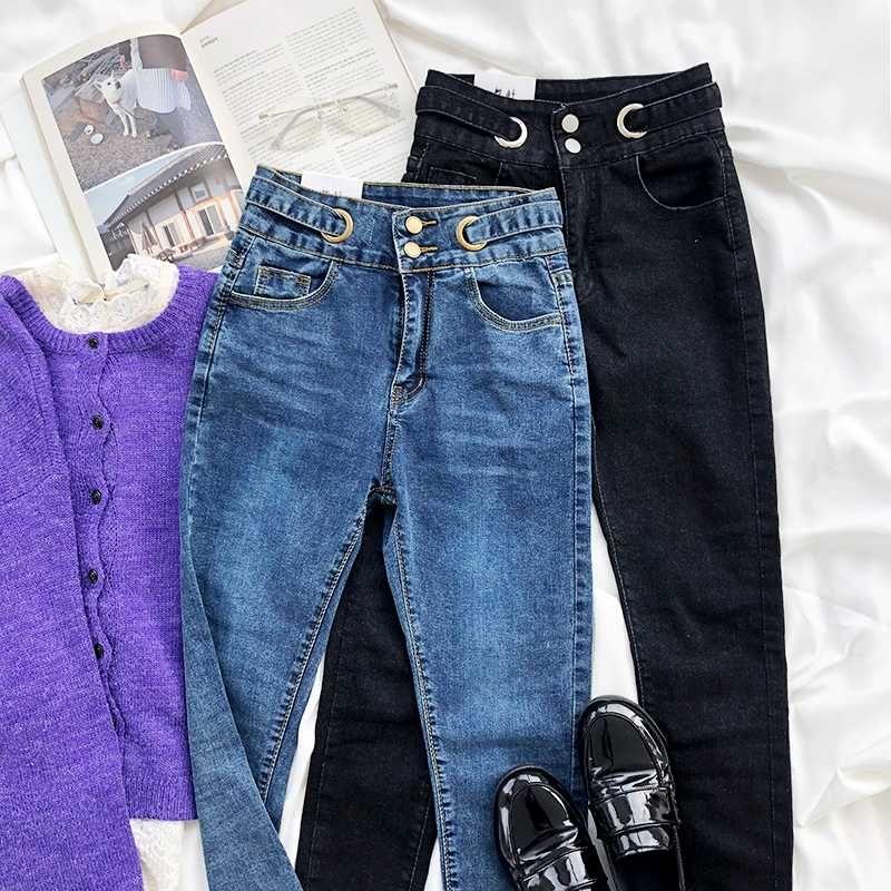Frühlings-Weinlese Gewaschene Bequeme hohe Taillen-dünne Bleistift-Jeans-Hosen