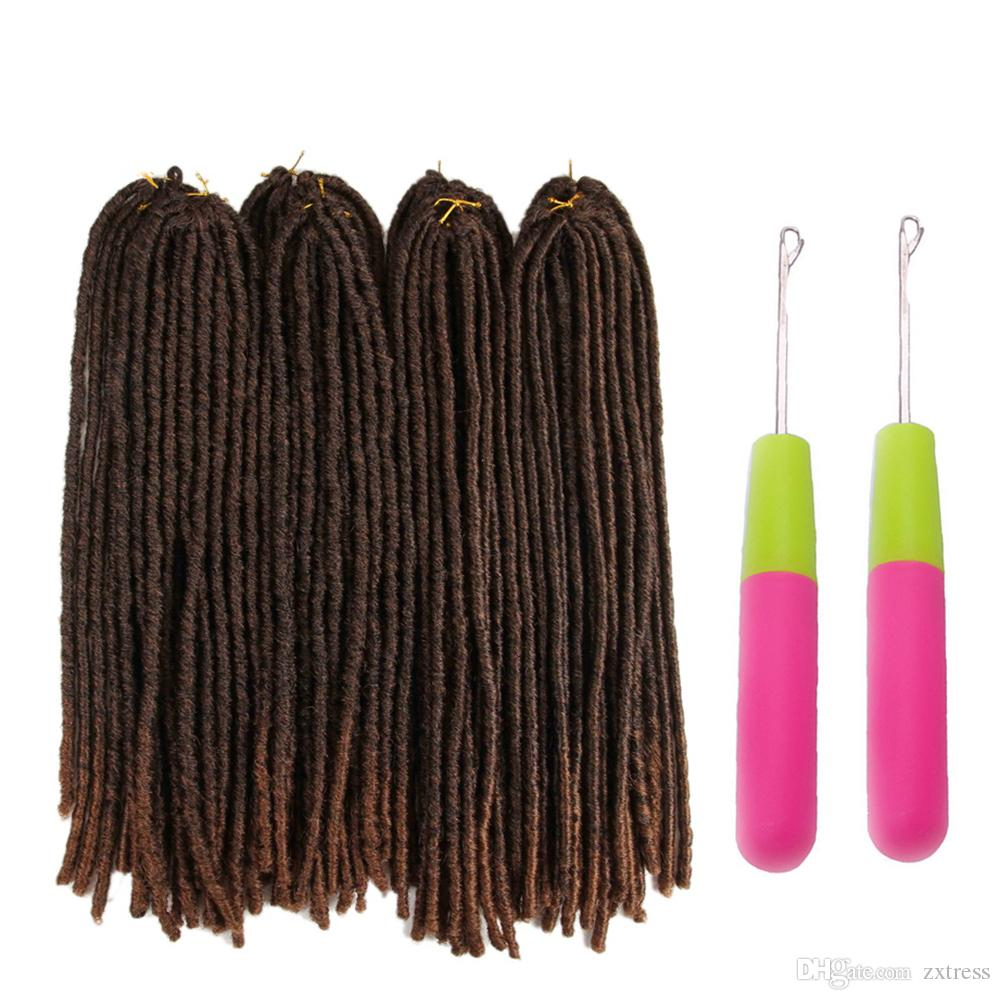 20inch Soft Dreadlocks Crochet Braids Jumbo Dread Hairstyle Ombre Color Goddess Faux Locs Synthetic Braiding Hair Extensions 20strands/pack