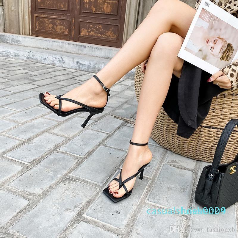 Gladiator sandales de talons hauts automnes meilleurs rue Regard femelles à tête carrée bout ouvert clip-Strappy Sandals Women L24