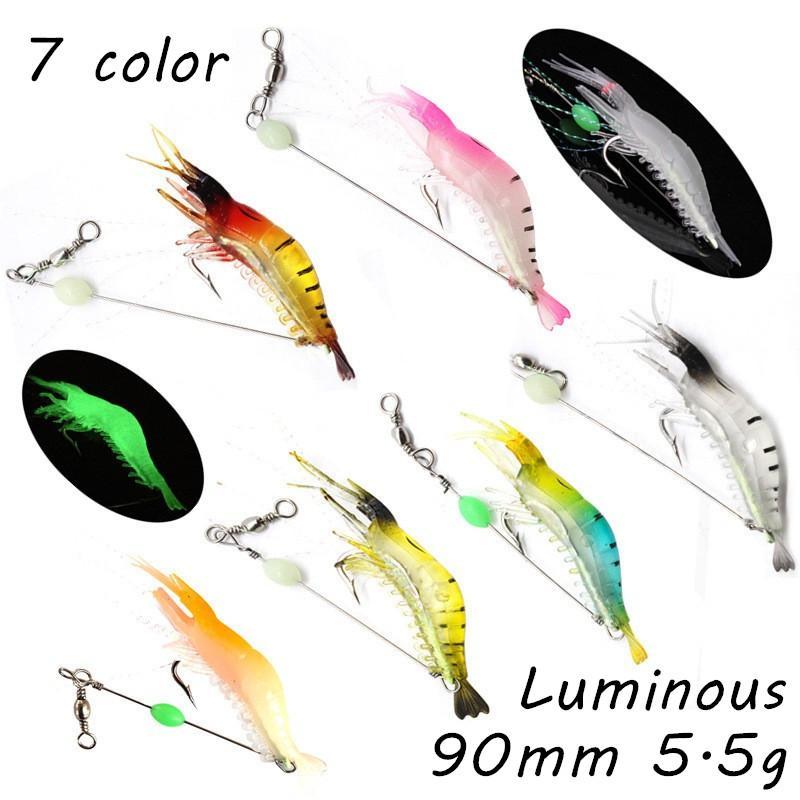 7pcs / lot leuchtende Garnele Angelhaken Angelhaken Einzelhaken 7 Farben Mixed 90mm 5.5g weiche Köder-Köder WA_27