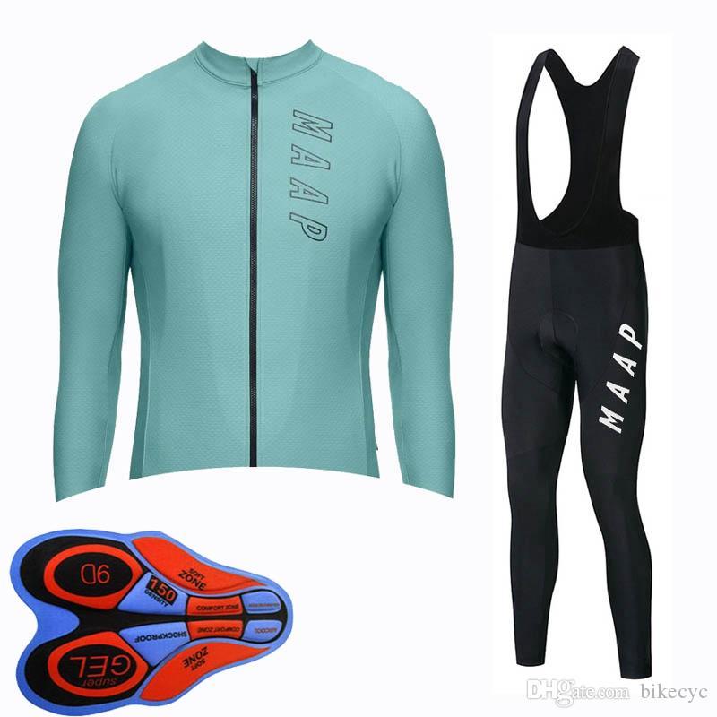 Maap Team Cycling Mangas largas Jersey Pantalones de babero Conjuntos Hombres de alta calidad Bicicleta MTB Ropa Maillot Ciclismo U82910