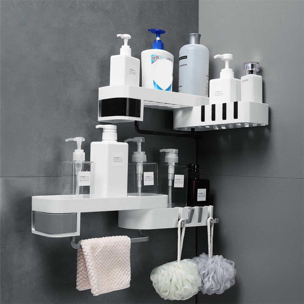 Plastic Suction Cup Corner Shower Shelf Bathroom Shampoo Shower Shelf Holder Kitchen Storage Rack Organizer Wall Mounted Type
