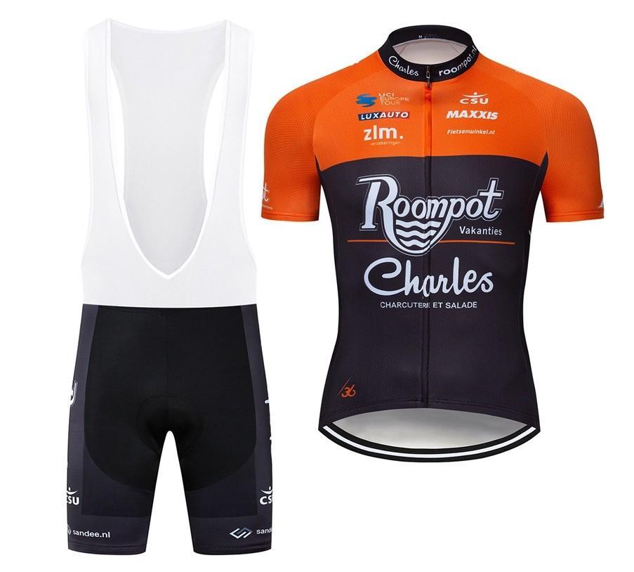 2019 Roompot Maillot cyclisme Maillot Ciclismo à manches courtes et une bavette Cuissards du vélo Kits Bracelet BICICLETAS O19121707
