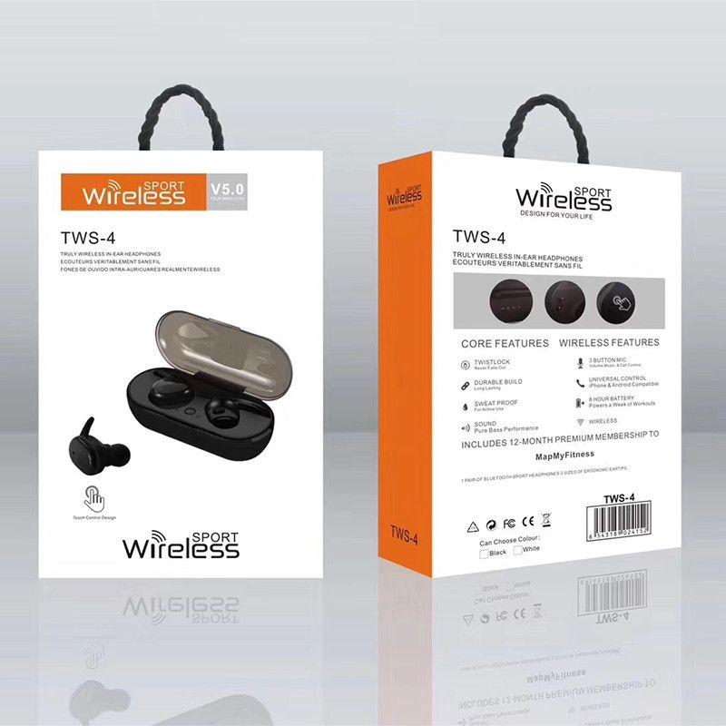 Yeni Gelenler TWS4 Bluetooth Kulaklık Kablosuz 5.0 Mini TWS 4 Spor Kulaklık ile Süper Bas Dokunmatik Kontrol Kulaklık İçin Akıllı telefonlar