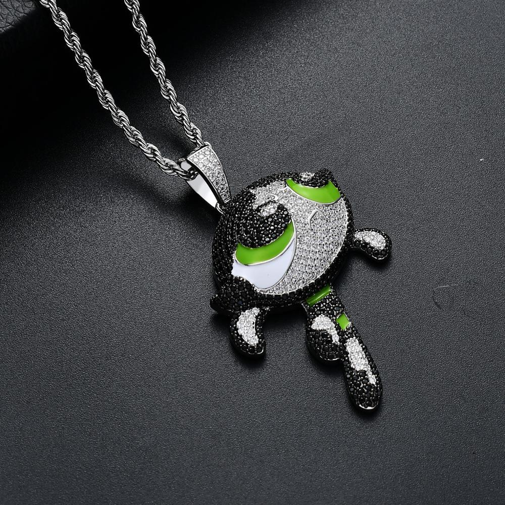 Hip Hop Micro Paved + Cubic Zirconia Bling Iced Out Cartoon The Girls Pendants Necklace for Men Rapper Jewelry