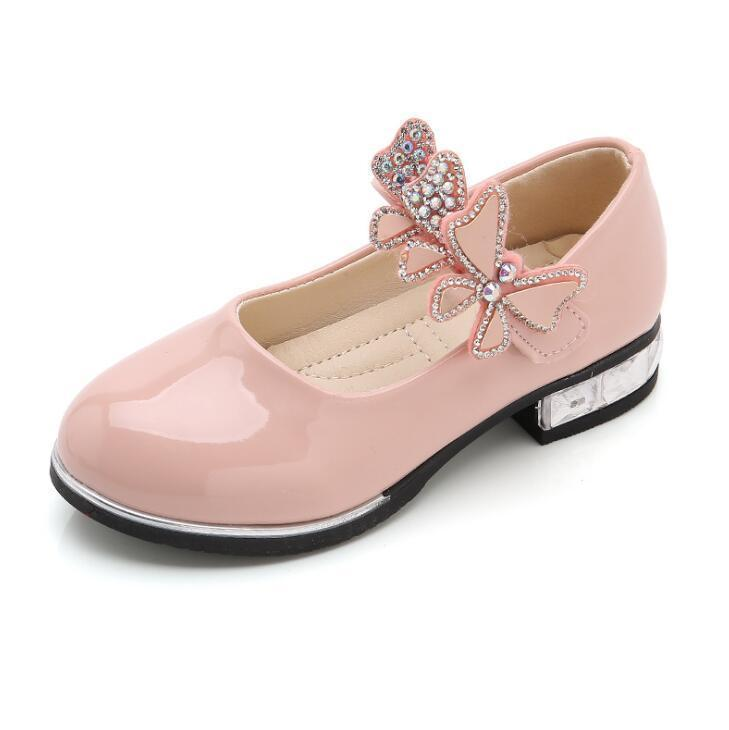 Kids Girls Shoes Bowknot Rhinestone