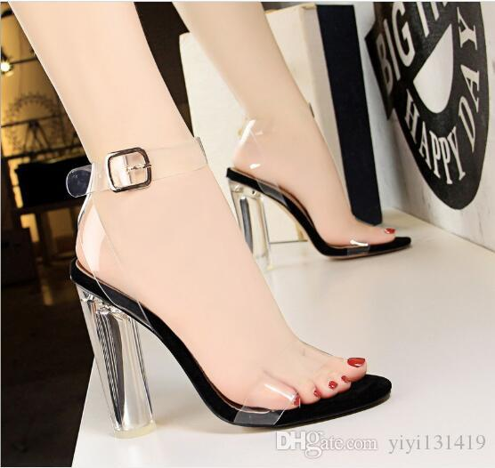 European and American style summer sexy women's shoes super high with round crystal and open toe transparent belt sandals