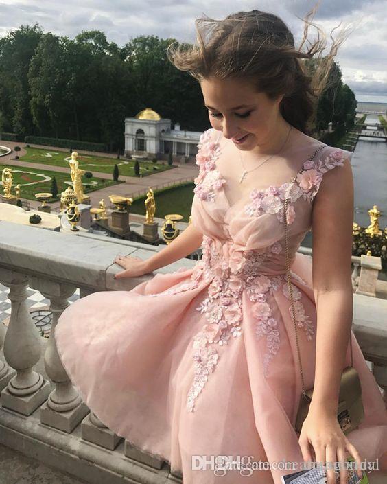 Розовые коктейльные платья Домашние платья V шеи плисситы короткие платья выпускного вечера 2017 Новые красивые цветы платье на заказ плюс размер