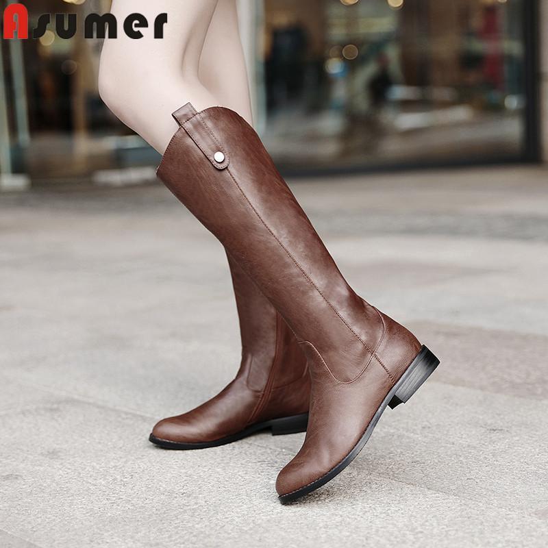 ASUMER große Größe 34-43 Art und Weise kniehohe Stiefel Frauen runde Zehe niedrige Absätze Herbst Winterstiefel Damen einfache neue Reit 2020