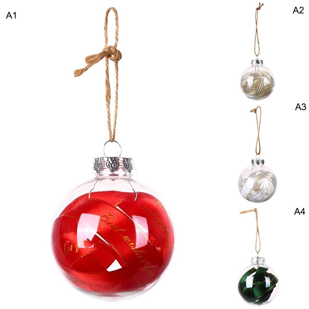 4pc 8cm plastique transparent Boules de Noël Décorations Hanging Boule Boule de Noël Ornement de sucrerie Arbre de Noël Décor extérieur Joyeux Noël