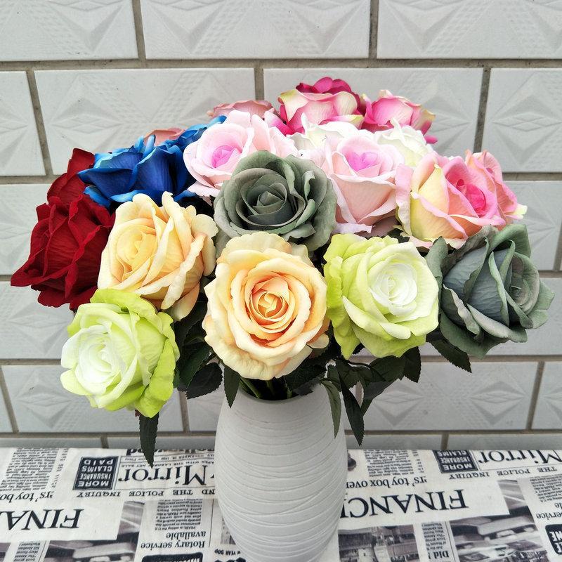 10PCS / الكثير اصطناعية المخملية ارتفع الجديد زهرة روز الديكورات المنزلية الحرير اكليلا من الزهور باقة من الزهور لحفل الزفاف زهرة الزخرفية صياغة مصنع