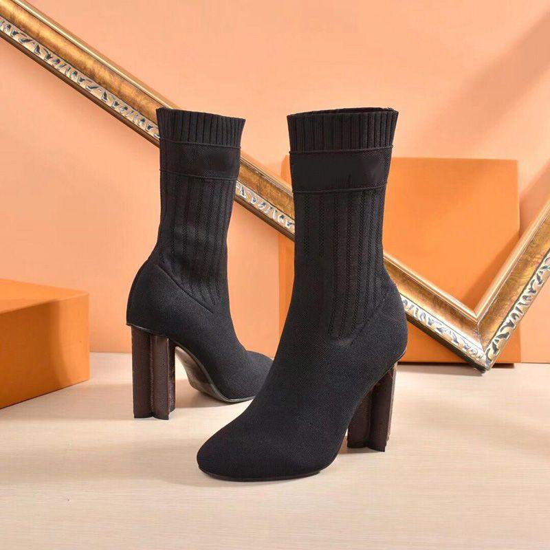 Lüks Siluet Ayak Bileği Çizme Kadın Martin Çizmeler Kış Uyar Botas Streç Kumaş Bootie Monogram Çiçek Topuk Bayanlar Düğün Ayakkabısı