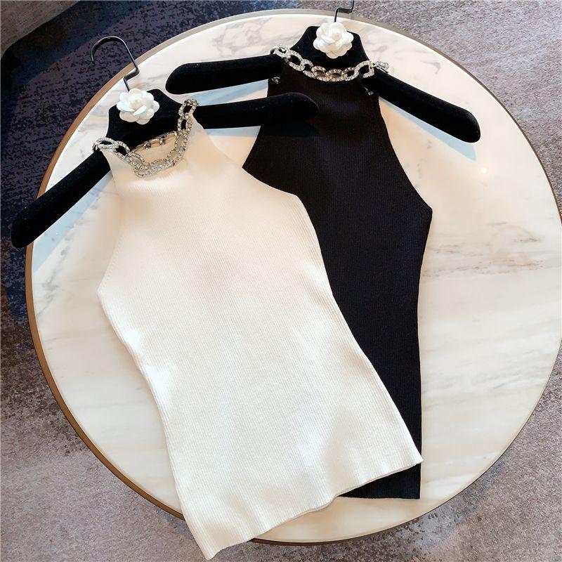 Sesy Top per le donne semplice stretta lavorato a maglia Canotta strass collare senza spalline maniche lavorato a maglia signore ritagliata parti superiori Mujer T200508