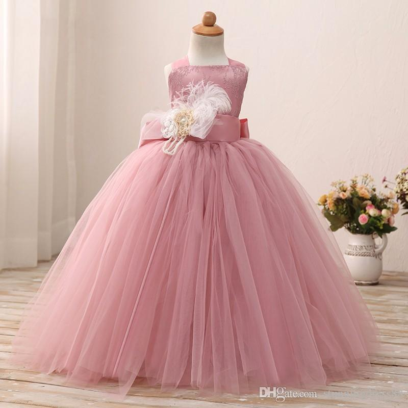 Charming Dusty Rose Toddler Flower Girls Dresses For Wedding With Straps Feather Flowers Lace Tulle Ball Gowns Girls Formal pageant Dresses